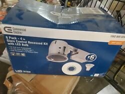 Commercial Electric Recessed Lighting Kit Swivel Series 4 Inch White 6 Pack
