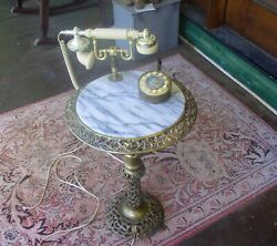 Vintage Brass and Marble Floor Table Phone mod $325.00