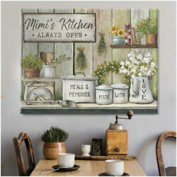 Meals and Memories Made With Love Custom Name Kitchen Canvas Wall Art Decor $60.00