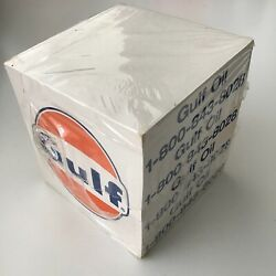 """Vintage Gulf Oil Note Paper Desk Cube Stacker With Classic Logo 3 1 4"""" Promo Ad $15.96"""