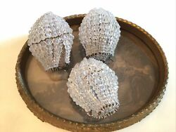 vtg set of 3 beaded bulb covers great condition french lamps victorian $95.00