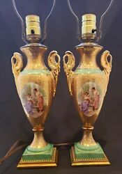 Elegant Le Mieux Antique Table Lamps Pair Made in France $295.00