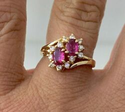 Magic GLO Natural Ruby amp; Diamond Ring in 14k Solid Yellow Gold Sz 5.25 $569.99