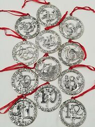BEAUTIFUL VINTAGE SILVER PLATED 12 DAYS OF CHRISTMAS ORNAMENT SET CIRCLE SHAPE $49.99
