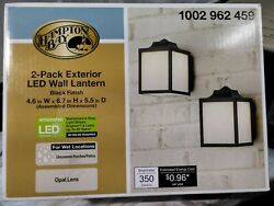 Hampton Bay Black Outdoor Integrated LED Wall Lantern Sconce 2 Pack $22.90