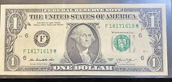 2013 Fancy Serial # Repeater Quad 1#x27;s US Federal Note Serial # F 18171619 M $81.00