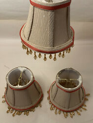 3 Vintage Chandelier Shades Beaded Clip On $40.00