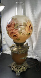 Antique Lamp Gone with the wind Copper Base Electric $165.00