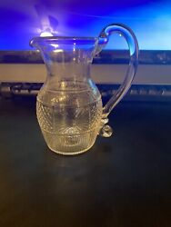 Vintage Glass Pitcher Medium With Ornate Handle $20.00