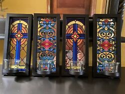 Set of 4 faux stained glass style mirrored framed wall hanging candle holders $16.95