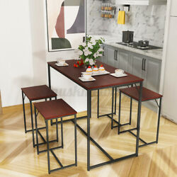 Woodyhome 5Pcs Dining Bar Table Set w 4 Chairs Breakfast Kitchen Home Furniture $114.99