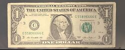 2013 US Federal Reserve Fancy Quad 6s Serial # Note C 55896666 E $35.00