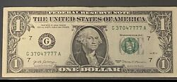 US Federal Reserve Fancy 5 Of A Kind Solid Quad 7s Serial # Note G 37047777 A $15.00
