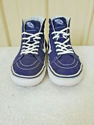 Vans off the wall women#x27;s 7.5 hi tops navy canvas white laces trim 5in shaft $22.00