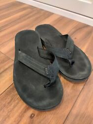 Reef Mens Flip Flops Sandals Thongs Suede straps Black Size 11 Free Shipping $22.99