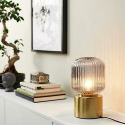 Ikea SOLKLINT Table lamp brass gray clear glass 11 quot; NEW $37.99
