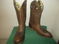 Mens 12quot; Domestic R Toe Work Western Cowboy Boots 10.5 D New USA Brown Leather $110.00