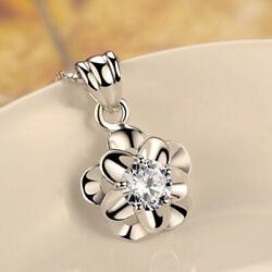 Cute 925 Silver Wedding Necklaces Pendant for Women Cubic Zirconia Jewelry C $2.58