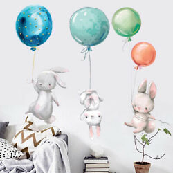 Colorful Balloon Rabbits Wall Stickers Decoration Grey Rabbits for BedroAA C $6.29
