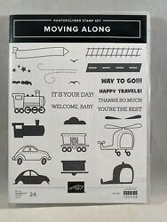 MOVING ALONG Stamp Set Stampin Up Helicopter Kids Car Train 2 Step $22.95