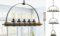 Rustic Farmhouse Chandelier for Dining Room Kitchen Island 5 Light Wood Brown $284.46