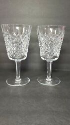 Vintage WATERFORD Crystal ALANA Pair Set of 2 Water or Wine Goblets 7quot;x 3.5quot; EC $65.00