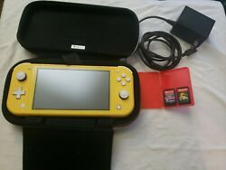 Nintendo Switch Lite Handheld System Yellow with 2 Games Works Great $175.00