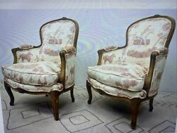 Pair Carved French Style Lounge Chairs. Louis XV Style. $850.00