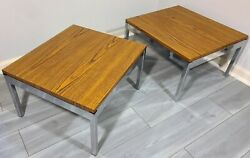 MID CENTURY END TABLE PAIR VINTAGE OFFICE 1970s INVINCIBLE STEEL CHROME FORMICA $349.99