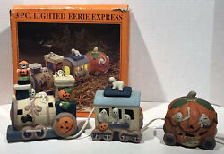 Vintage Decoration 3 Piece Lighted Eerie Express Halloween Train Set With Box $14.99