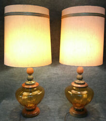 Amber Glass Metal Wood 3 way Table Lamps Pair Vintage w Shades Regency MidCent $145.00