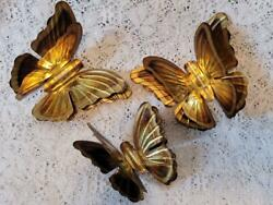 Vintage Home Interior Brass Goldtone Metal 3D Butterflies Homco Wall Accents $16.99