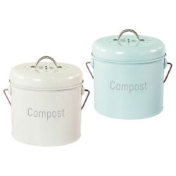 3L Kitchen Compost Bin Countertop Farmhouse with Lid Rust Proof Easy Clean $38.73