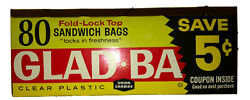 1960's *Sealed* 80 Glad Bags Fold Lock Top Sandwich Bags clear plastic 6.25x5.5 $824.95