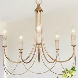 Gold French Country Chandeliers for Dining Rooms 5 Light Modern Pendant Light... $255.96