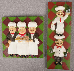 Two Small Fat Chef Wall Plaques Chefs with Wine amp;Food Checkered Background $9.99