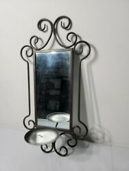 Vintage Wall Hanging Candle Holder Sconce Metal Look with Mirror 17 X 8 $25.99
