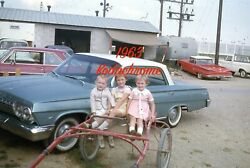 1960s Cars Cute Boy and Girls Sitting in Antique Carriage Orig Kodachrome Slide $14.99