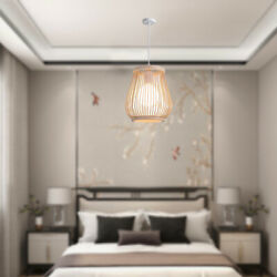Bamboo Ceiling Hanging Lampshade Hotel Cafe Dining Room Pendant Light Cover $36.93