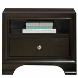 Vintage Nightstand Sofa Side End Table Solid Wood w USB Port amp; 1 Drawer Brown $109.59