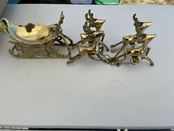 Vintage Solid Brass 4 Deer Sleigh Holiday Christmas Decor Comes In Original Box $28.00