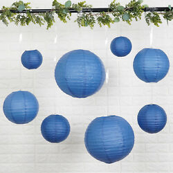 8 NAVY BLUE Assorted Sizes Hanging Paper Lanterns Wedding Events Decorations $9.03