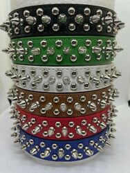 PU Leather Spiked Dog Collar XS S M L PU Leather Studded Dog Collar $8.99