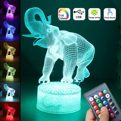 16 Colors 3D LED Night Light Touch Switch Elephant Table Bedroom Lamp Home Χ $15.67