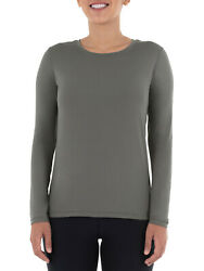 NEW ATHLETIC WORKS WOMEN#x27;S PLUS XXL CORE LONG SLEEVE STRETCH TEE GRAY FLANNEL $11.04