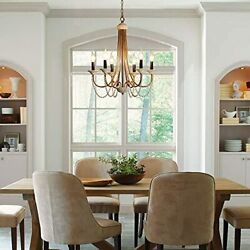 Wood Beaded Chandeliers for Dining Room French Country Bead ChandelierFarmhou... $337.49