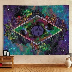 Colorful Tie Dye Mandala Galaxy Witchy Tapestry Wall Hanging for Bedroom $9.00