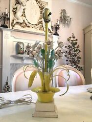 Shabby vintage antique tole lamp flowes in pot daisy italian old retro yellow $95.00