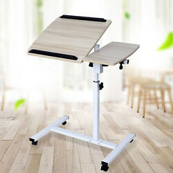 Mobile Table Maple Cherry Movable Lifting Table Height Adjustable Bedroom Office $43.00