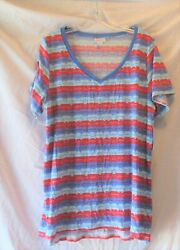 LULAROE RED amp; SHADES OF BLUE STRIPED CHRISTY T TOP SIZE 2XL NEW $19.99
